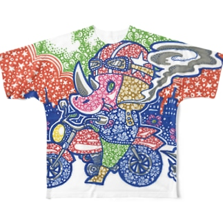 Motorcycle rhinoceros Full graphic T-shirts