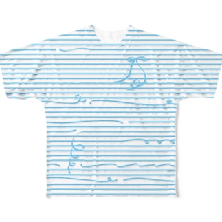 Blue Stripes Full graphic T-shirts
