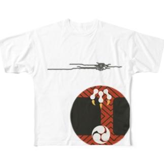 【まあるい花札】雷 Full graphic T-shirts