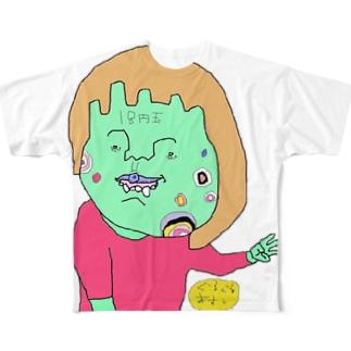 間違ったピースサインで割り込む女の子 Full graphic T-shirts