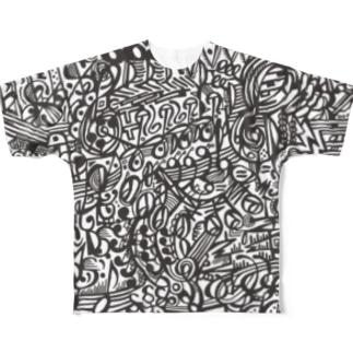 楽譜柄 Full graphic T-shirts