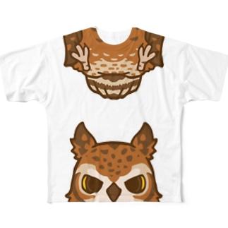 フクロウガミテルダケ Full graphic T-shirts