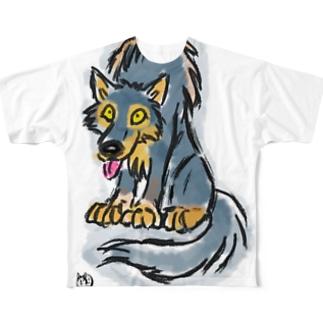 Q太郎の微笑み Full graphic T-shirts