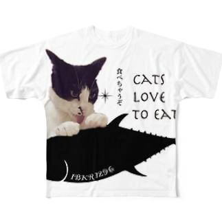 まぐろ食べたい、はちのすけ。 Full graphic T-shirts