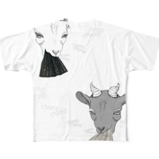 白ヤギと黒ヤギの無限ループ Full graphic T-shirts