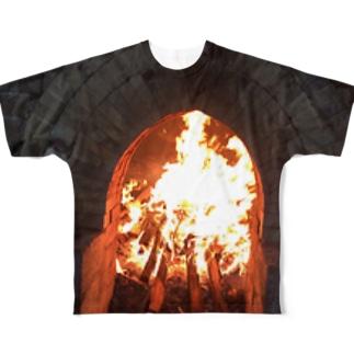 薪窯の火 Full graphic T-shirts