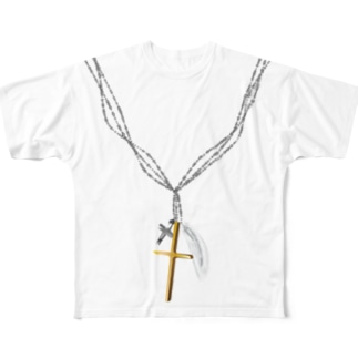 Cross Necklace Full graphic T-shirts