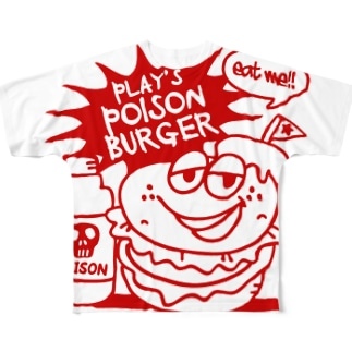 PLAY's POISON BURGER RED Full graphic T-shirts