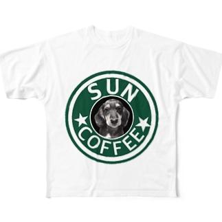 ミニチュアダックスフンド(スタバ風、SUN) Full graphic T-shirts