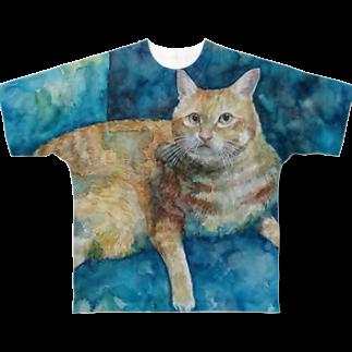 にゃべしっのにゃんたろす水彩画 Full graphic T-shirts