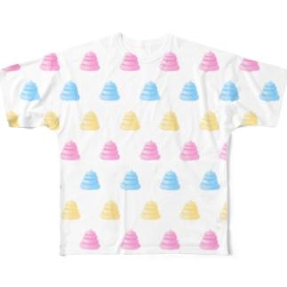 夢かわいいうんこ柄グッズ Full graphic T-shirts