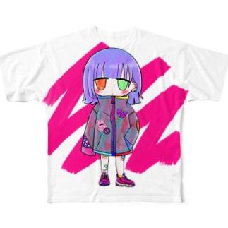 ストリートカジュアルな女の子 Full graphic T-shirts