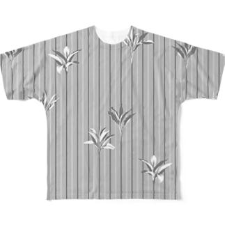 ドラセナの葉っぱ🌿ストライプ フルグラフィックTシャツ