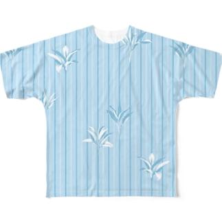 ドラセナの葉っぱ🌿ストライプ2 フルグラフィックTシャツ