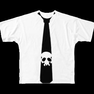 犬田猫三郎のドクロネクタイ Full graphic T-shirts