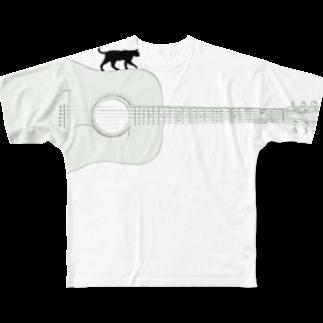 musicshop BOBのネコトギタア Full graphic T-shirts