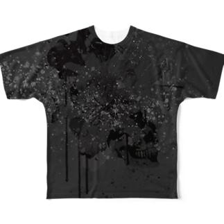 Lily Skull [Dark] Full graphic T-shirts