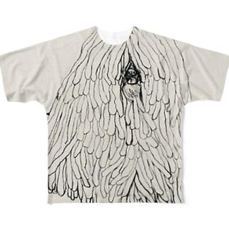かしこいプーリー犬のイラスト  鉛筆画 歩く犬 Full graphic T-shirts