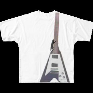 musicshop BOBのネコトヴイギタア - cat and v guitar Full graphic T-shirts