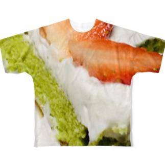 抹茶生地のとちおとめカットケーキ Full graphic T-shirts