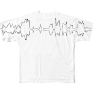 ハケイ - wave / white Full graphic T-shirts