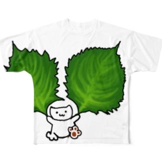 大葉ねこ Full graphic T-shirts
