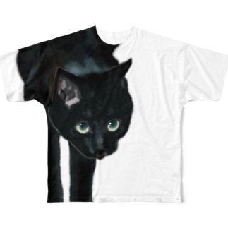 黒猫 Full graphic T-shirts