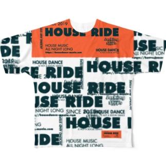 HOUSE DANCE MANIAのHOUSERIDEビッグタグ Full graphic T-shirts