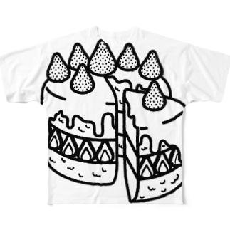 特別な日のショートケーキ-モノクロ Full graphic T-shirts