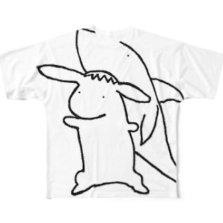うさぎ専用サメ帽 Full graphic T-shirts