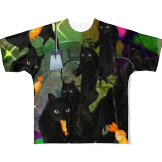 宇宙の黒猫 Full graphic T-shirts