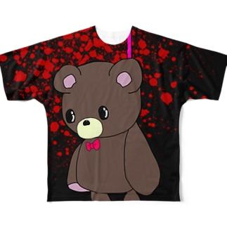 メンヘラ酒ヤクザのくまくん首吊りver. Full graphic T-shirts