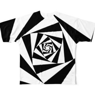 スパイラルかざぐるま(モノクロ) Full graphic T-shirts