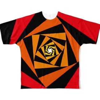 スパイラルかざぐるま(カラーA) Full graphic T-shirts