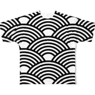 SEIGAIHA01(モノクロ) Full graphic T-shirts