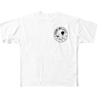ハイカラーTシャツ WHITE Full graphic T-shirts