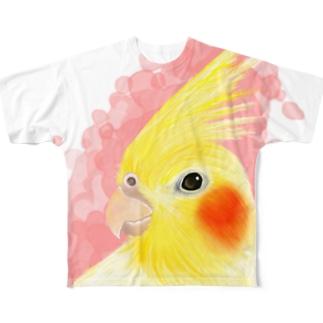 ほんわかオカメインコ ルチノー【まめるりはことり】 Full graphic T-shirts