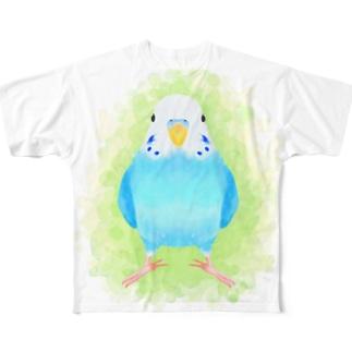 まめるりはことりのほんわかセキセイインコ ブルー【まめるりはことり】 Full graphic T-shirts