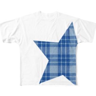 チェック柄スター blue Full graphic T-shirts
