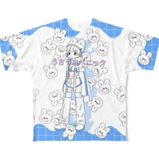 うさうさパニック横 Full graphic T-shirts