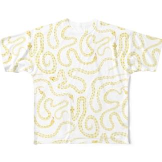 ナチュラルなヘビさん Full graphic T-shirts