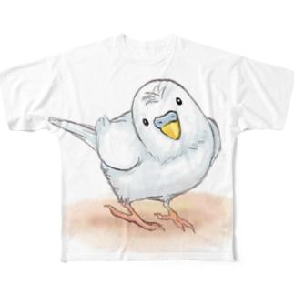 セキセイインコ レティ【まめるりはことり】 Full graphic T-shirts