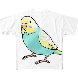 まめるりはことりのごきげんセキセイインコ【まめるりはことり】 Full graphic T-shirts