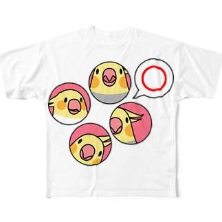 まめるりはことりのオカメインコまる〇【まめるりはことり】 Full graphic T-shirts