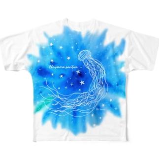 Hi*roomのアカクラゲと星がはじける海 Full graphic T-shirts