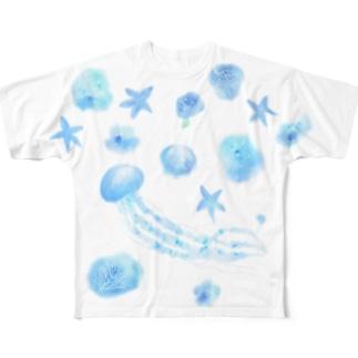 ふんわりクラゲとヒトデとナポレオンフィッシュ Full graphic T-shirts