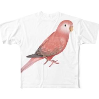 アキクサインコ ピンク【まめるりはことり】 Full graphic T-shirts