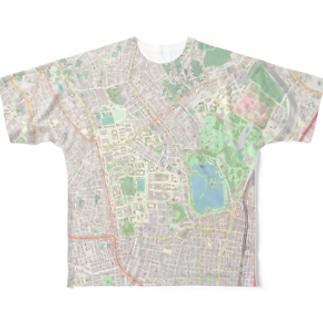東大 & 上野公園地図 Full graphic T-shirts