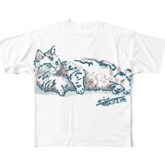 ちょっと太めのだらりん猫さん Full graphic T-shirts
