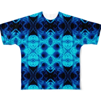 Spices Invader cyan Full graphic T-shirts